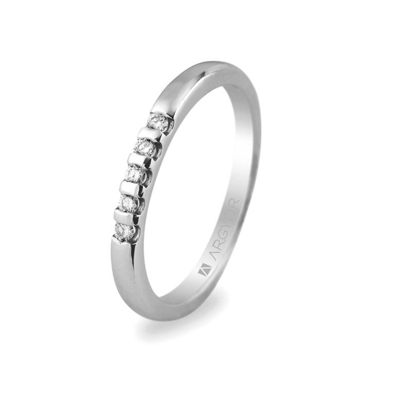 3a19234d9793 Anillo Argyor en oro blanco de compromiso 5 diamantes 0.10ct. Anillo de compromiso  5