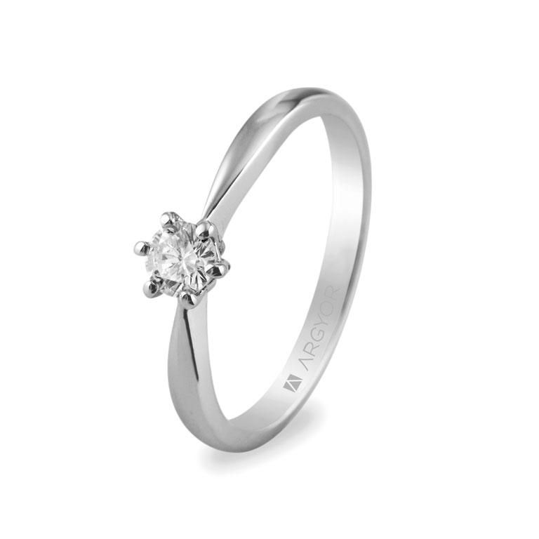 499411ea26bf Anillo de compromiso Argyor oro blanco 1 diamante 0.25ct. Sortija con 1  diamante 0.25