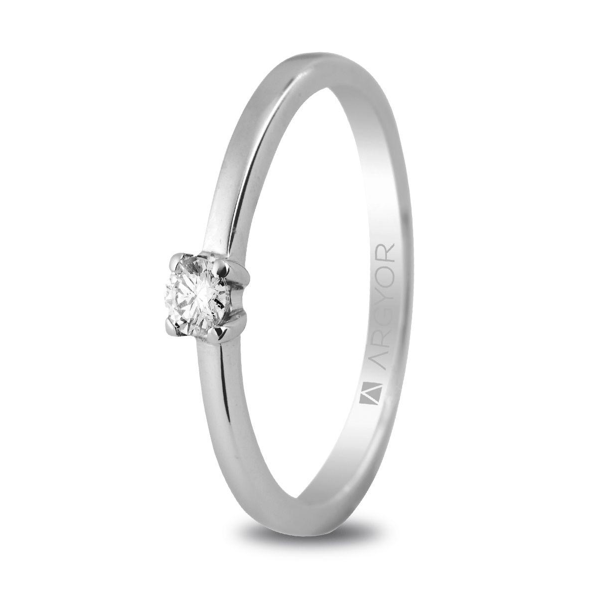 bd8f8273a603 Anillo de compromiso Argyor oro blanco 1 diamante 0.10ct. Sortija oro  blanco 1 diamante